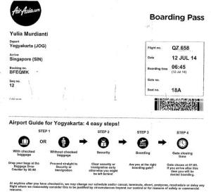 Boarding pass Airasia YOG-SIN