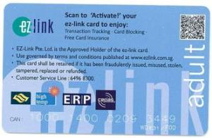 EZ link card back