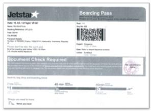 boarding pas jetstar SIN-SBY
